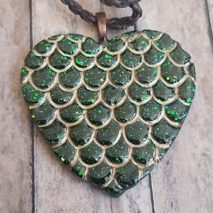 Jewelry - Large Mermaid Scales Heart Resin Necklace